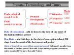 prenatal terminology and times