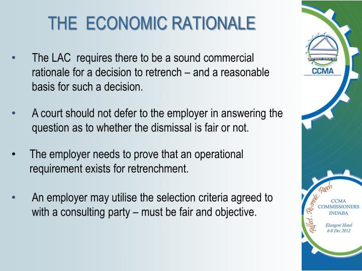 THE  ECONOMIC RATIONALE