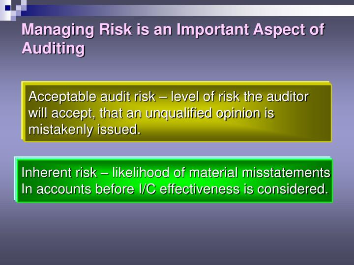 Managing Risk is an Important Aspect of Auditing