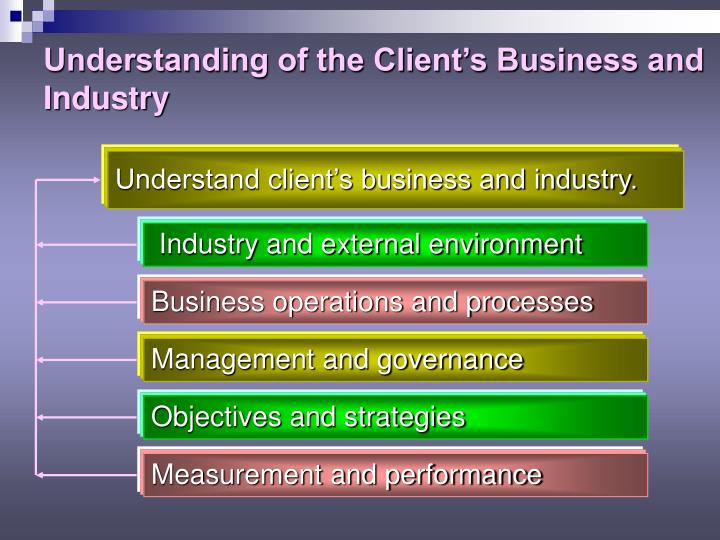 Understanding of the Client's Business and Industry