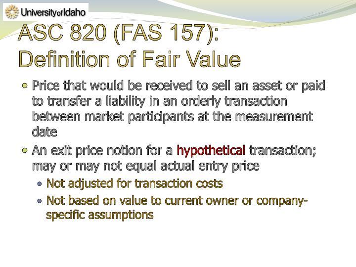 Asc 820 fas 157 definition of fair value