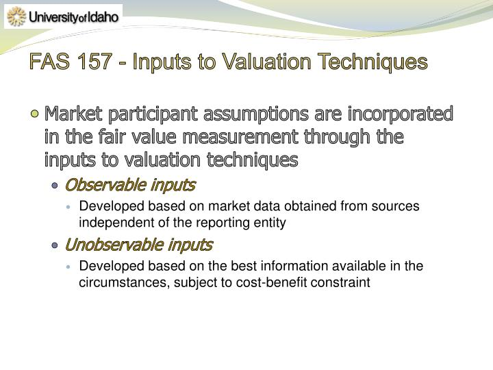 FAS 157 - Inputs to Valuation Techniques