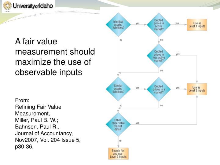 A fair value measurement should maximize the use of observable inputs