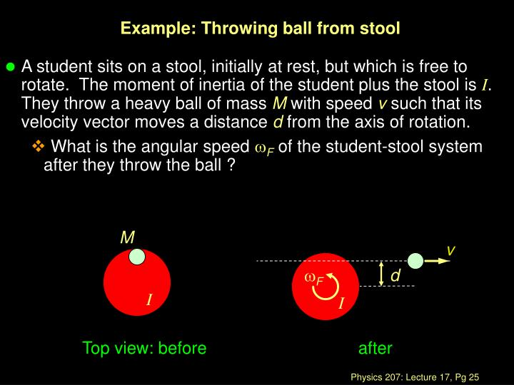 Example: Throwing ball from stool