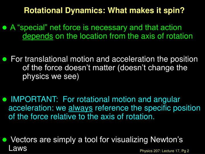 Rotational dynamics what makes it spin