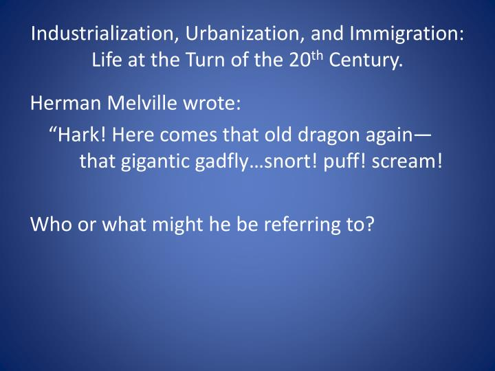 urbanization and immigration