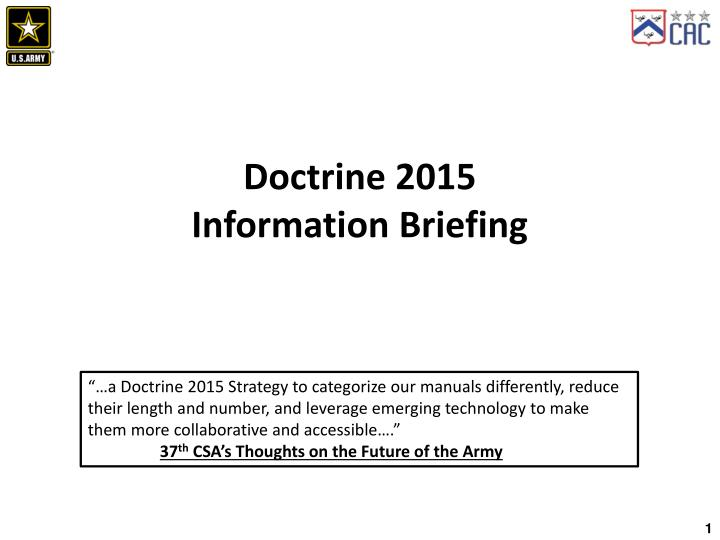 doctrine 2015 information briefing