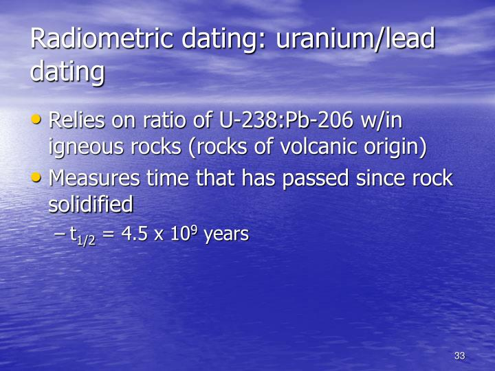 Radiometric dating: uranium/lead dating