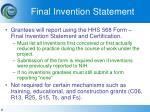 final invention statement