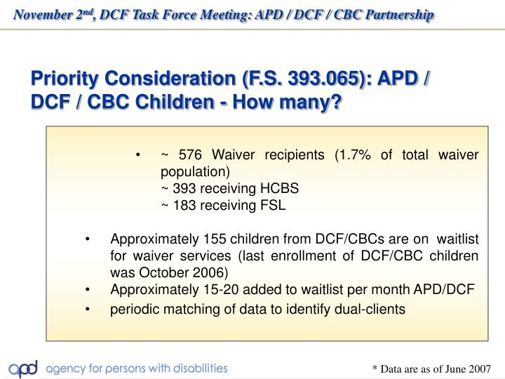 Priority Consideration (F.S. 393.065): APD / DCF / CBC Children - How many?