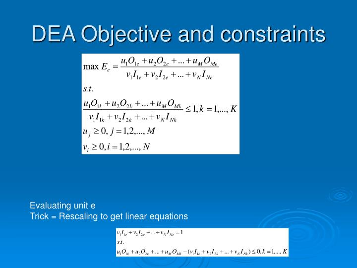 DEA Objective and constraints