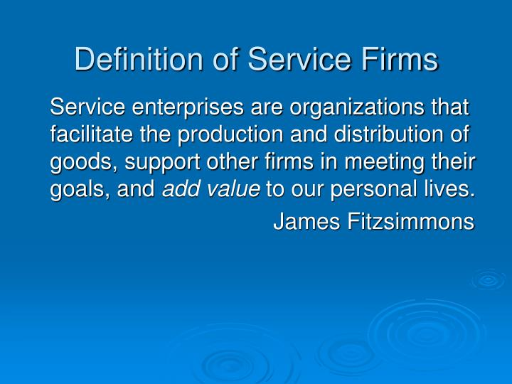 Definition of Service Firms