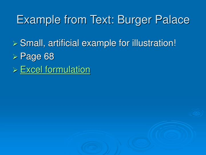 Example from Text: Burger Palace