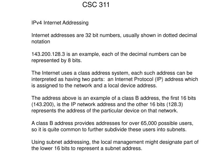 IPv4 Internet Addressing