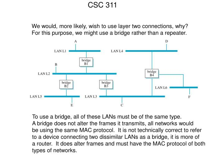 We would, more likely, wish to use layer two connections, why?