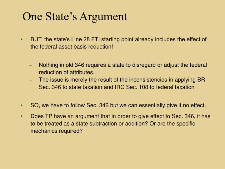 One State's Argument
