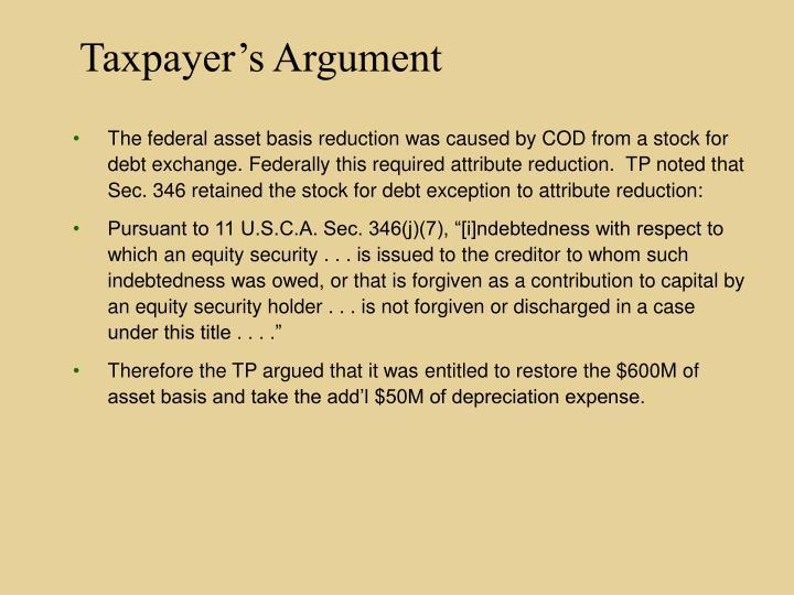 Taxpayer's Argument