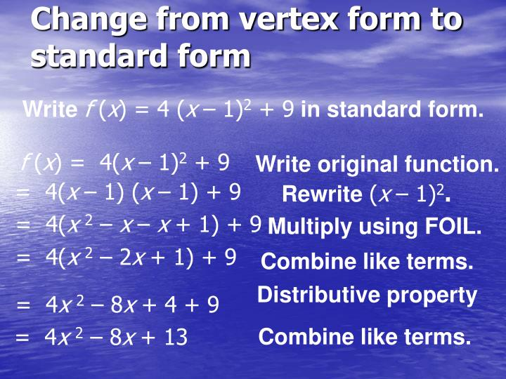 Ppt 12 Graphing Quadratic Functions In Vertex Or Intercept Form
