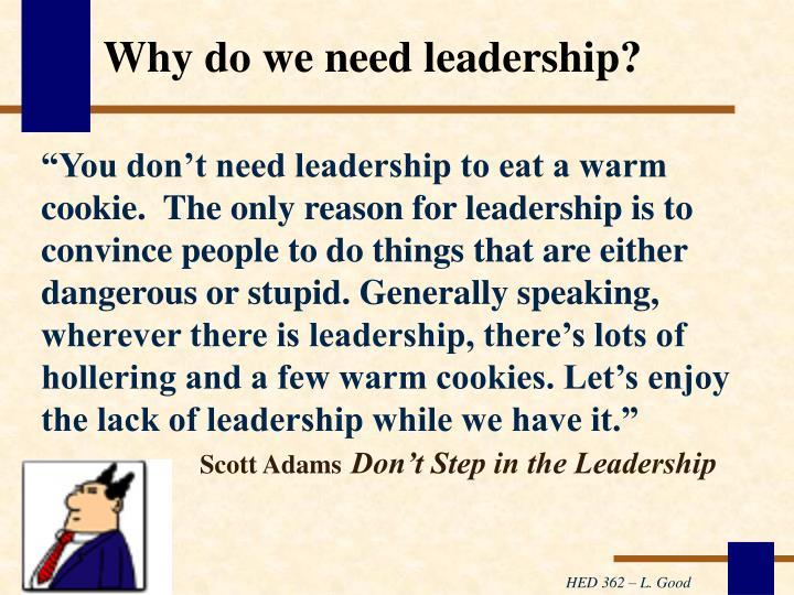 Why do we need leadership