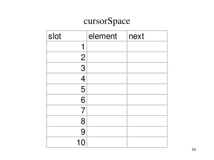 cursorSpace