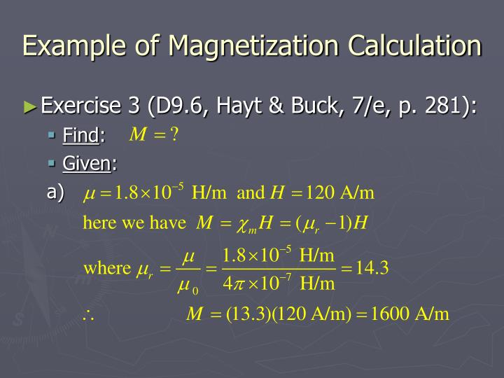Example of Magnetization Calculation
