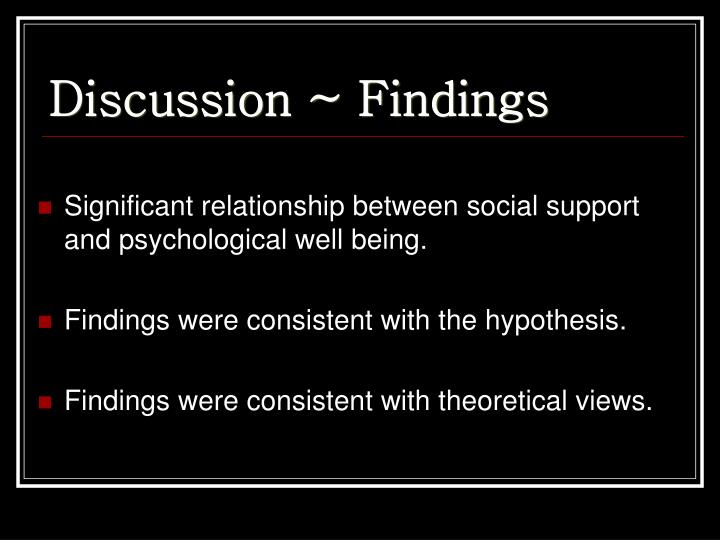 Discussion ~ Findings