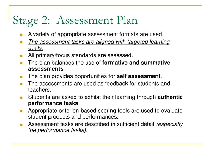 Stage 2:  Assessment Plan