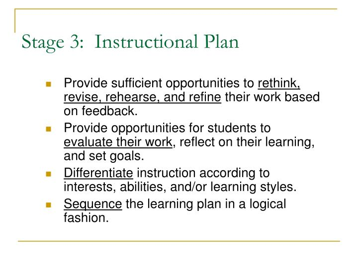 Stage 3:  Instructional Plan