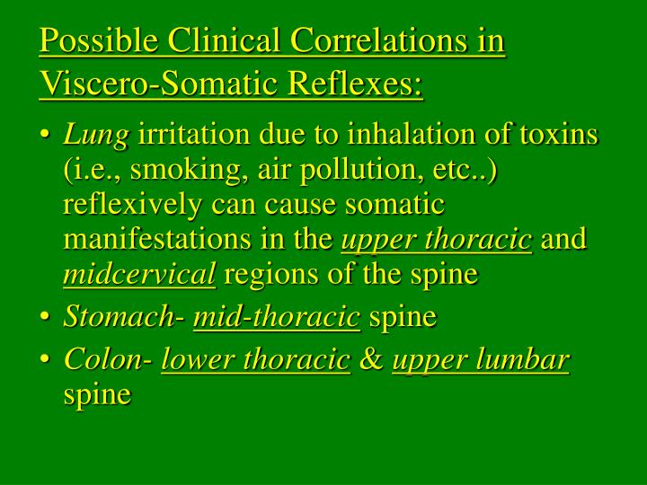 Possible Clinical Correlations in Viscero-Somatic Reflexes: