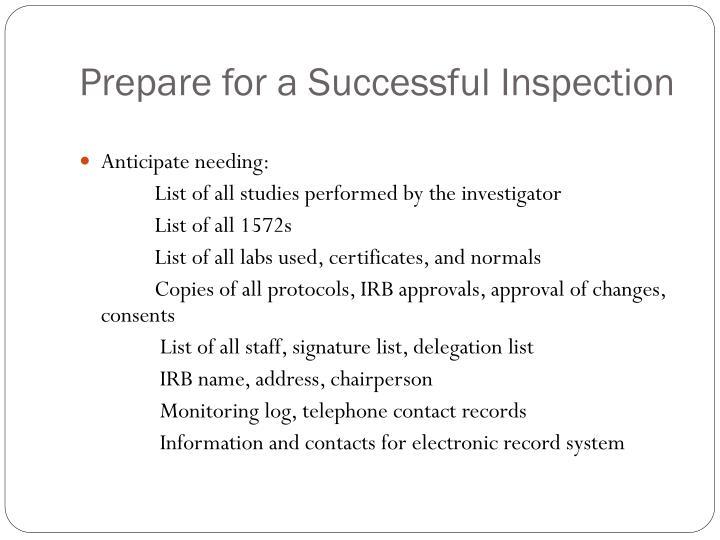 Prepare for a Successful Inspection