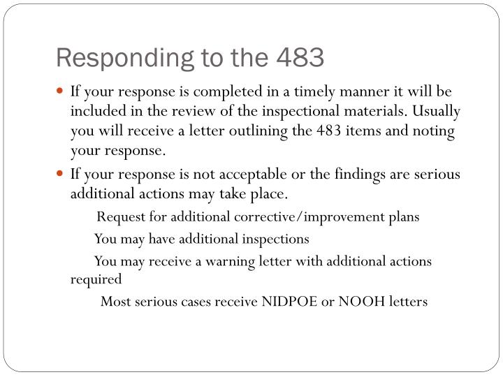 Responding to the 483