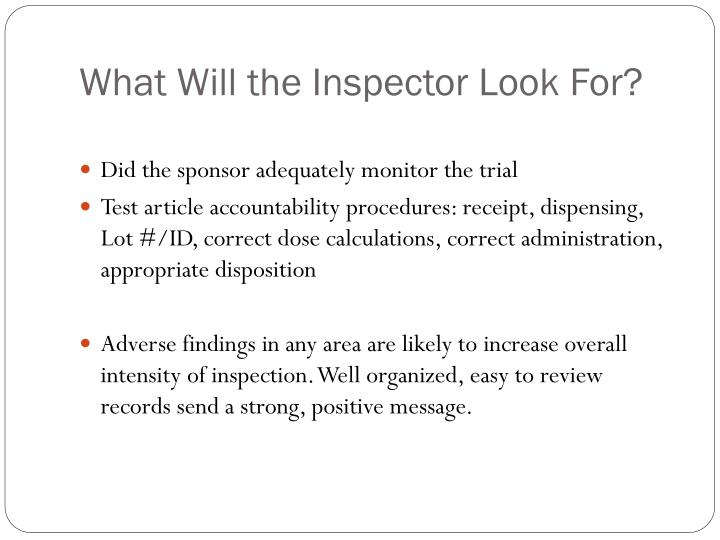What Will the Inspector Look For?