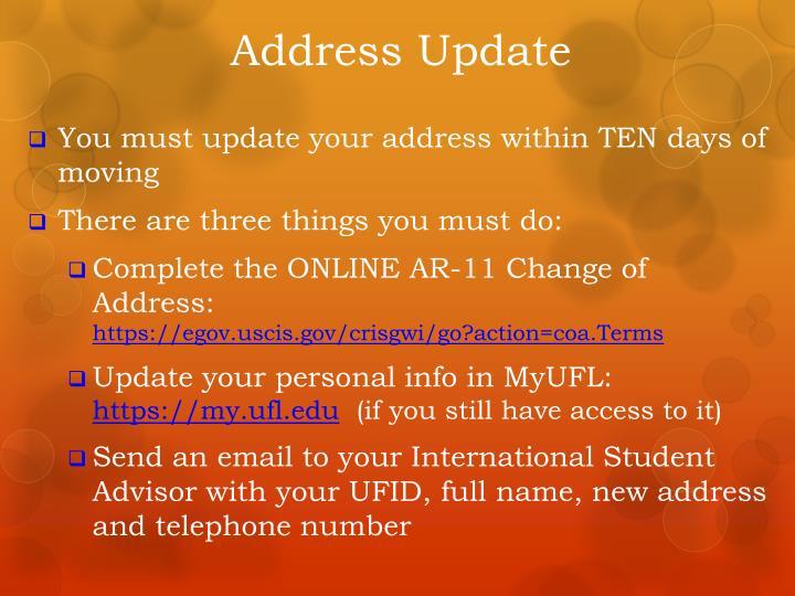 Address Update