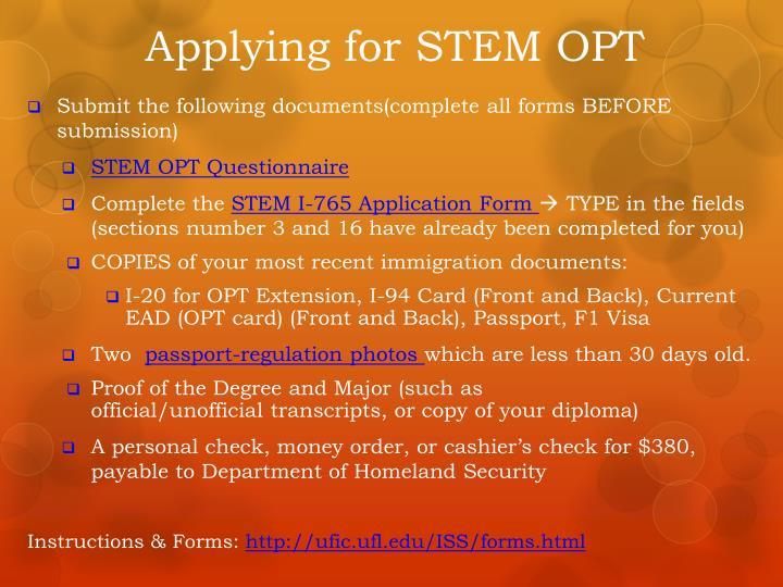 Applying for STEM OPT