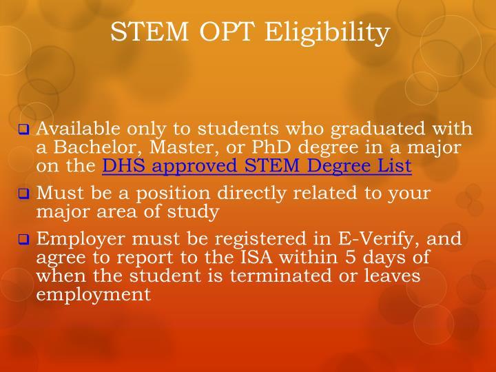 STEM OPT Eligibility
