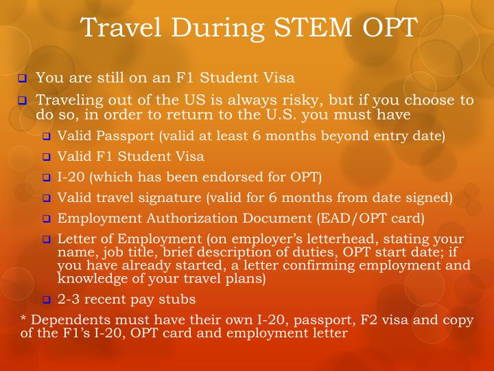 Travel During STEM OPT