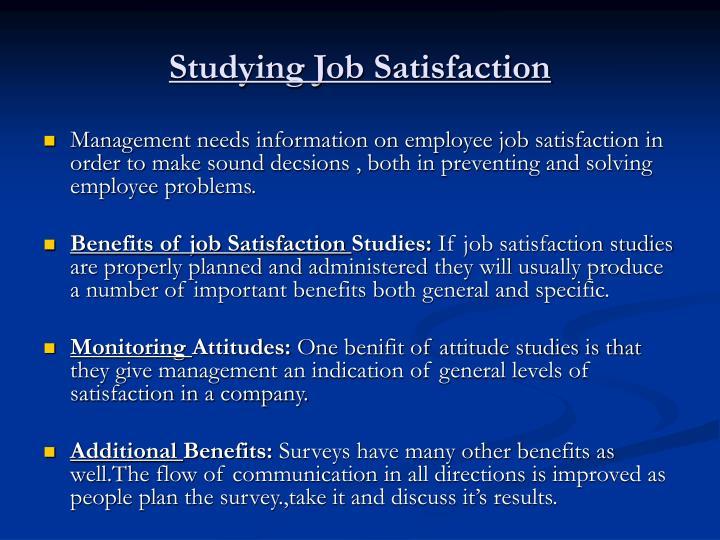 Studying Job Satisfaction