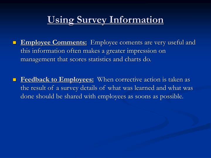 Using Survey Information