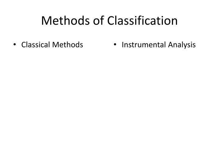 Methods of classification