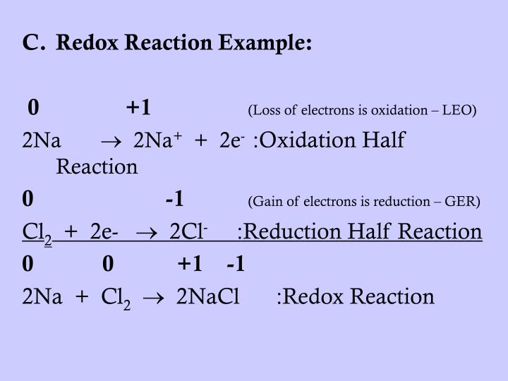 Redox Reaction Example: