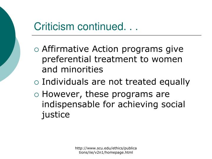 Criticism continued. . .