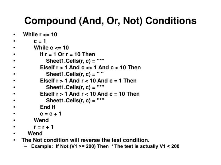 Compound (And, Or, Not) Conditions
