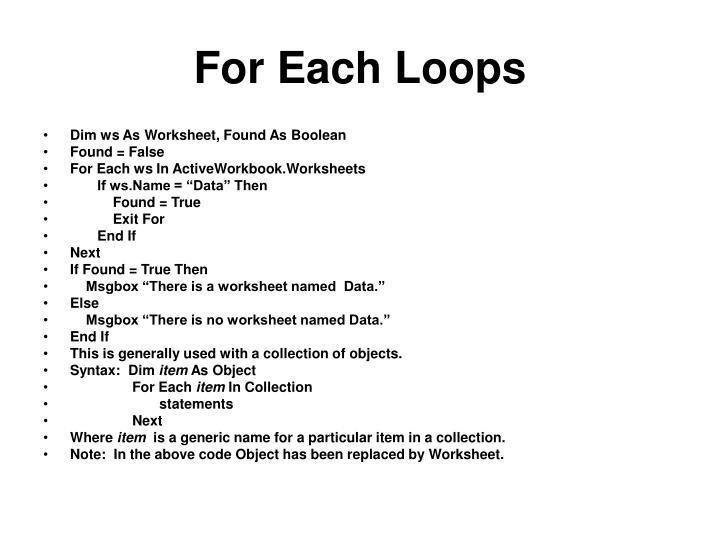 For Each Loops