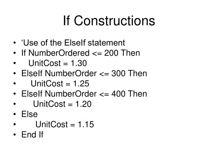 If constructions1