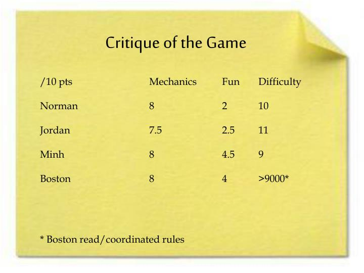 Critique of the Game