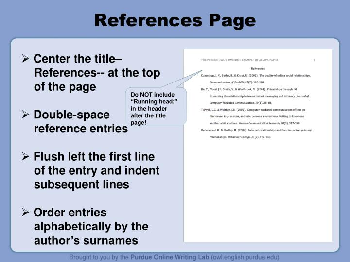 References Page