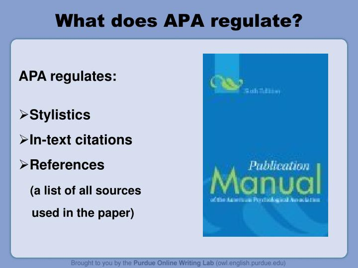 What does apa regulate