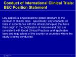 conduct of international clinical trials bec position statement