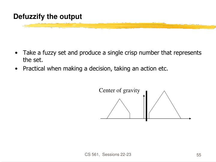Defuzzify the output