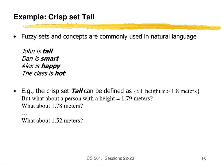 Example: Crisp set Tall